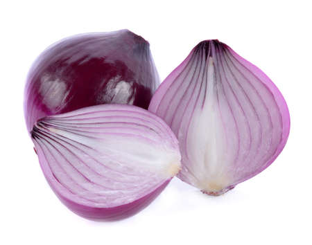 red onion slices isolated on white background Archivio Fotografico