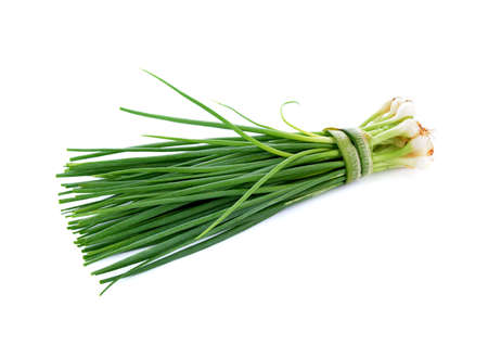 green spring onion isolated on white background Archivio Fotografico