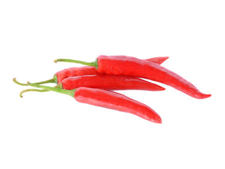 Red hot chili pepper isolated on the white background.