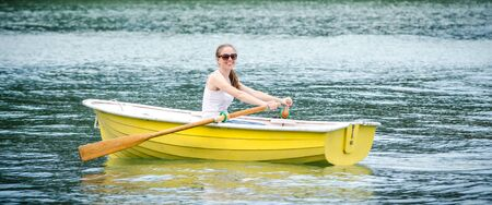 yellow row boat