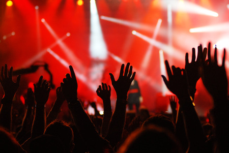 raised hands at concert