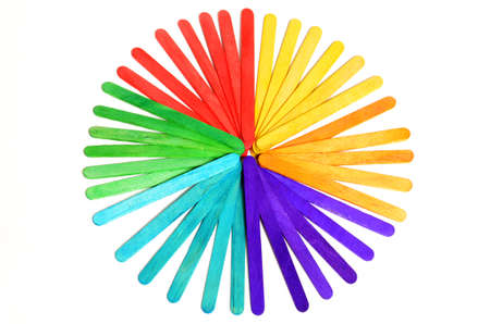 The color circle of wood ice-cream stick isolated