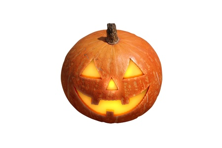 carved pumpkin: Scary halloween pumpkin jack-o-lantern candle lit, isolated on  white background