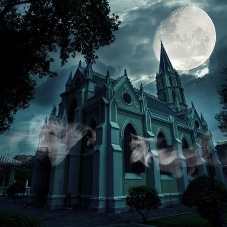 Church at Full moon night Stock Photo