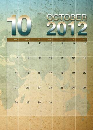 oversea: October  2012 calendar on World map background Stock Photo