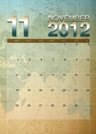 oversea: November 2012 calendar on World map background Stock Photo