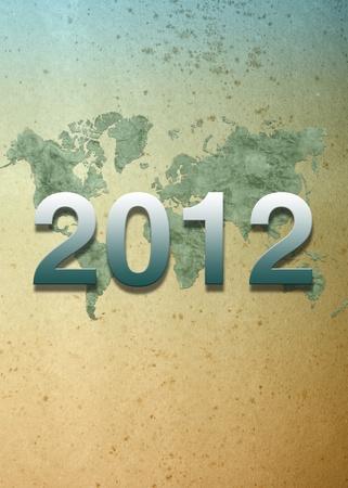 oversea: 2012 calendar on World map background