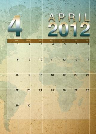 oversea: April 2012 calendar on World map background Stock Photo