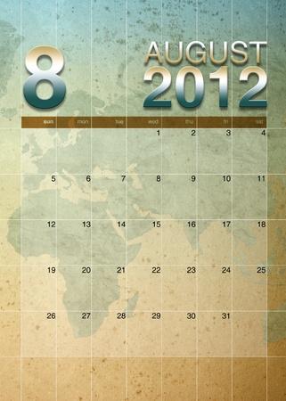 oversea: August2012 calendar on World map background