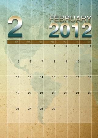 oversea: february 2012 calendar on World map background Stock Photo