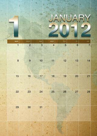 oversea: January 2012 calendar on World map background