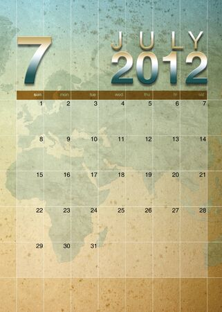 oversea: July 2012 calendar on World map background Stock Photo