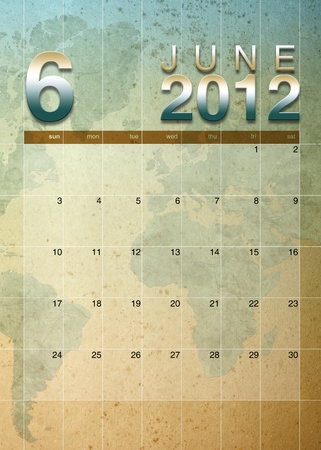 oversea: June  2012 calendar on World map background