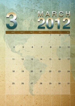 oversea: March 2012 calendar on World map background