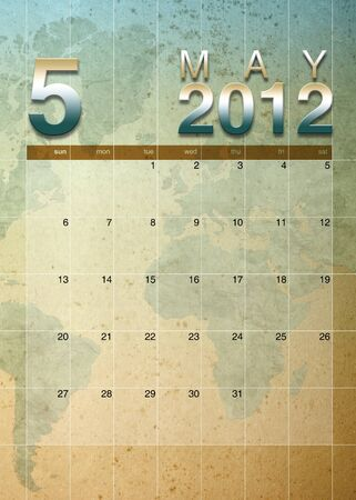 oversea: May 2012 calendar on World map background