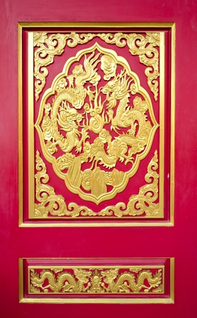 Red door with Golden Dragon texture in Chinese temple photo