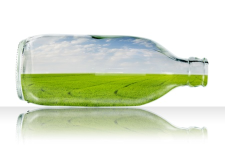 Rice field on blue sky in glass bottle