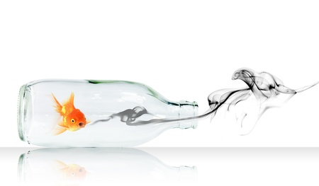 Gold fish in Glass bottle with concept smoke Stock Photo