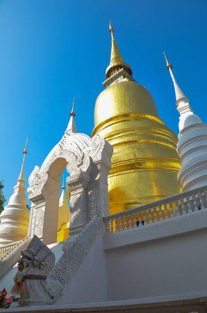 Golden Pagoda at Wat Suan-DokT, Chieng Mai Province, Thailand photo