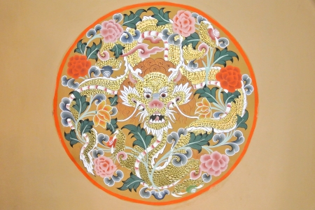 Dragon painting in Monastery Punakha, Bhutan photo