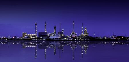 Refinery plant area with reflction on twilight, Panorama photo