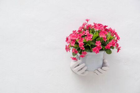 Hand Sculpture with Flower pot On White Wall photo