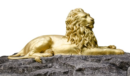 Golden lion statues isolated with cliping path