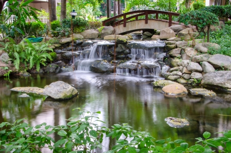 garden pond: Waterfall in the gaden