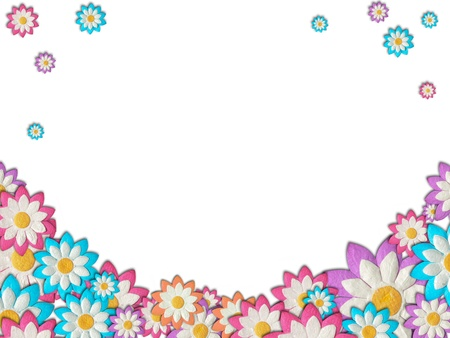 Colorful Paper Flowers Create A Frame On White Background Stock ...