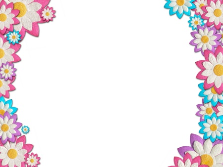 Colorful Paper flowers create a frame on white background Stock Photo