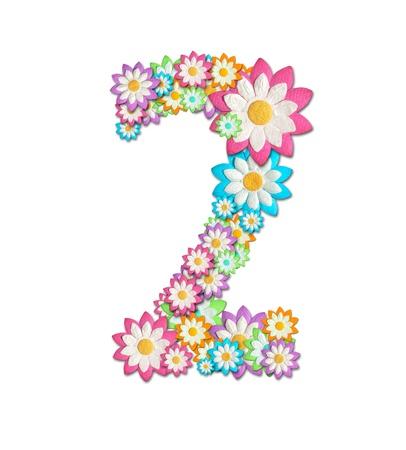 숫자 2는 흰색 배경에 고립 된 꽃에서 생성