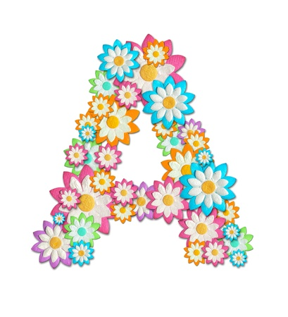 Flower Alphabet isolated on white background photo