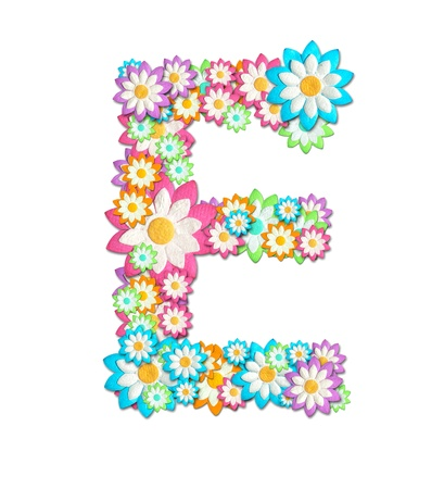 Flower Alphabet isolated on white background