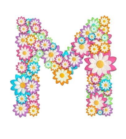 Flower Alphabet isolated on white background