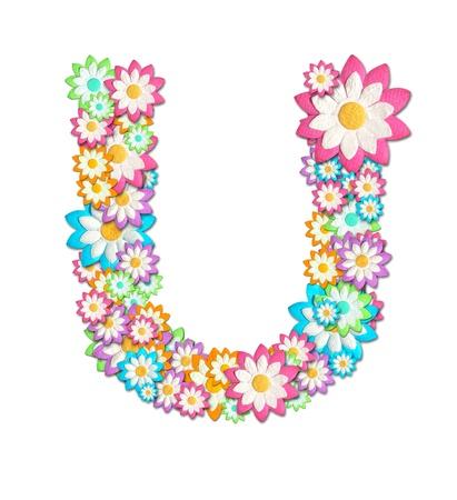 Flower Alphabet isolated on white background photo