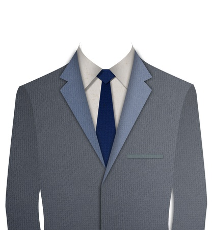 dressy: Paper cut Gray business suit with a tie Stock Photo