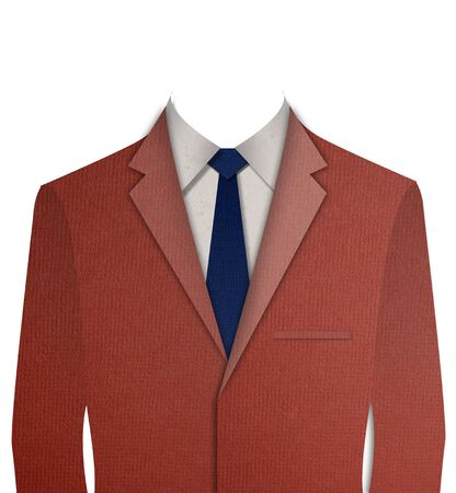 dressy: Paper cut Red business suit with a tie