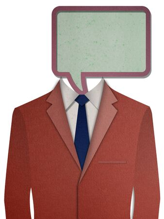 dressy: Paper cut Red business suit with a dialog head Stock Photo