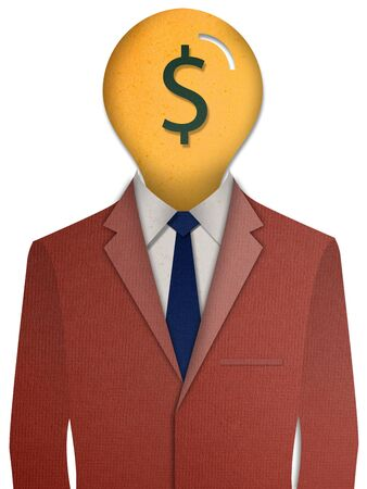 Paper cut Red business suit with a money head photo