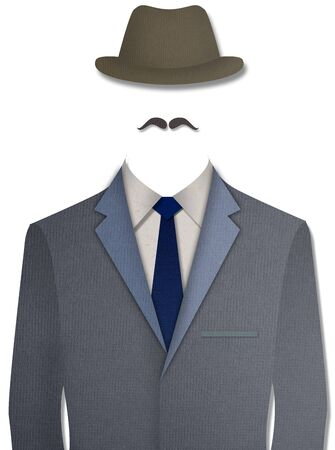 dressy: Paper cut Gray business suit with hat on white background Stock Photo