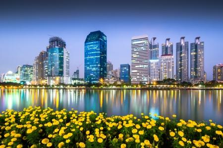 Commercial building in Bangkok twilight