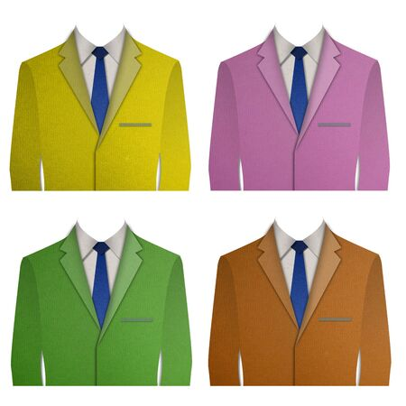 dinner wear: Paper cut Colorful business suit with a tie on white background