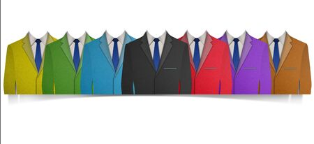 dressy: Paper cut Colorful business suit with a tie on white background