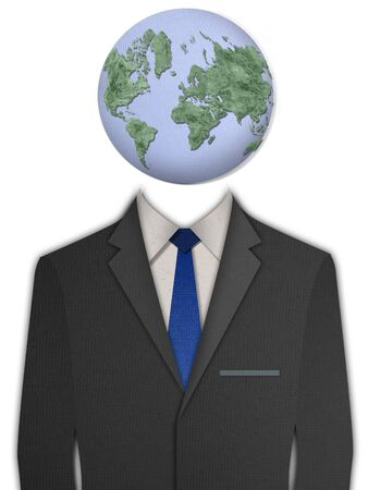 dressy: Paper cut black business suit with Earth head