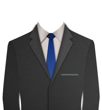 lazo negro: Papel cortado traje Negro con corbata en fondo blanco Foto de archivo