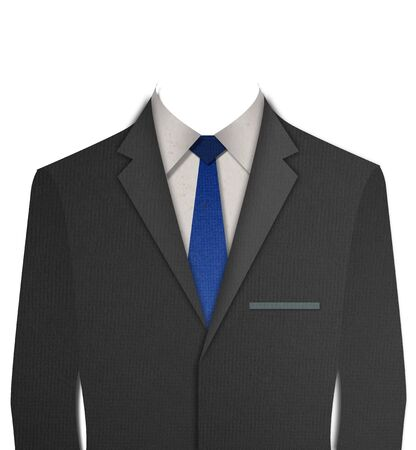 Paper cut Black business suit with a tie on white background photo
