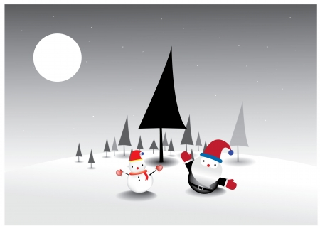 Santa Claus  and snowman on Christmas tree background Stock Vector - 16911557