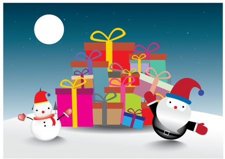 Santa Claus  and snowman on Christmas tree background Vector