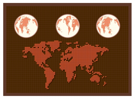 Dot World map Background Vector