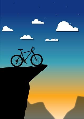 Mountain bike Illustration on mountain nature landscape background Stock Vector - 17240761